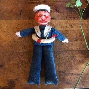 Vtg Norwegian sailor doll, celluloid head/hat, 🚢